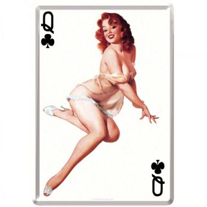 Carte postala metalica Pin Up - Queen of clubs