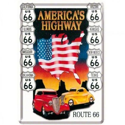 Carte postala metalica America's Highways
