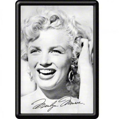 Carte postala metalica Marilyn Monroe - alb/negru