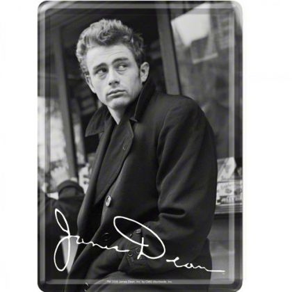 Carte postala metalica James Dean cu autograf