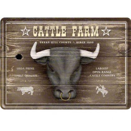 Carte postala metalica Cattle Farm