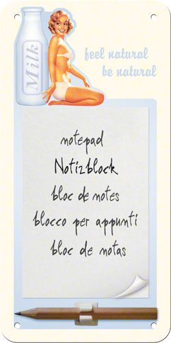 Bloc notes magnetic Pin Up - Milk