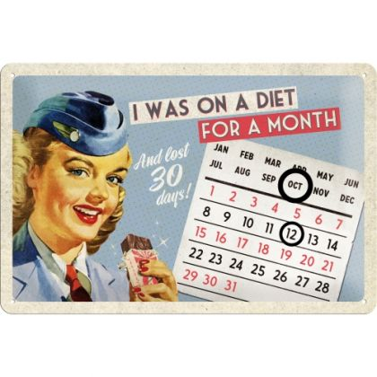 Calendar metalic de perete I was on a diet(20/30cm)