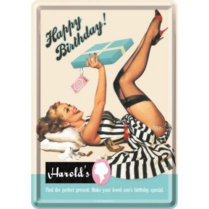 Carte postala metalica Happy Birthday Harold's