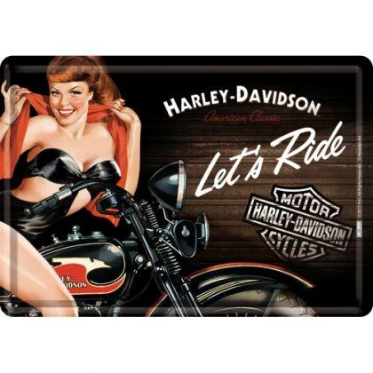 Carte postala metalica Harley-Davidson Biker Babe Red
