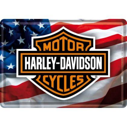 Carte postala metalica Harley-Davidson USA