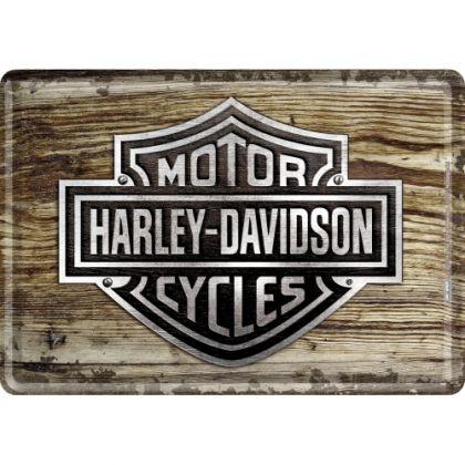Carte postala metalica Harley-Davidson Wood