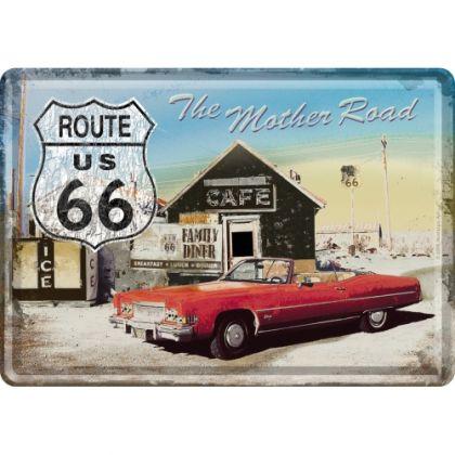 Carte postala metalica Route 66 - Cafe