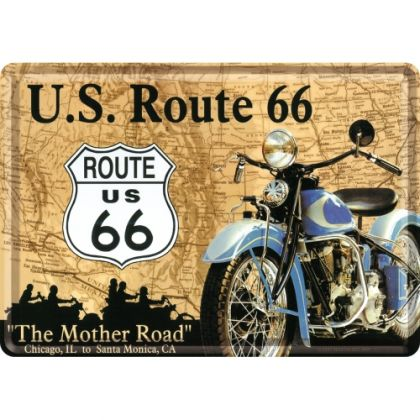 Carte postala metalica Route 66 - Map