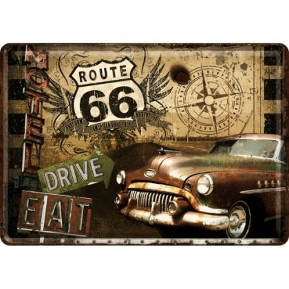 Carte postala metalica Route 66 - Motel