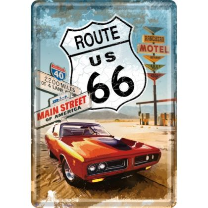 Carte postala metalica Route 66 -Gas Up