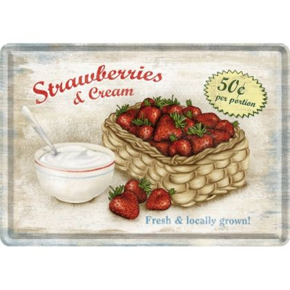 Carte postala metalica Strawberries and Cream