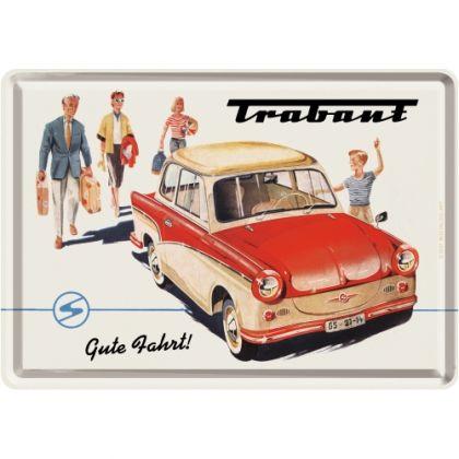 Carte postala metalica Trabant - Drum bun