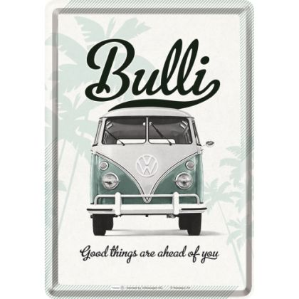 Carte postala metalica VW Bulli - Good things are ahead of you