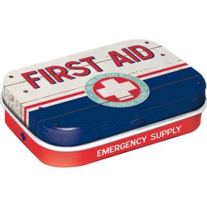 Cutie metalica de buzunar First Aid Blue
