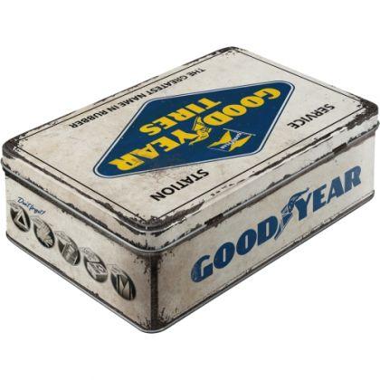 Cutie metalica plata Goodyear logo