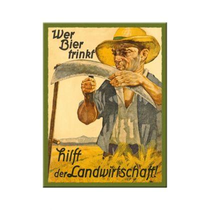 Magnet Wer Bier trinkf hilft der Landwirtschaft
