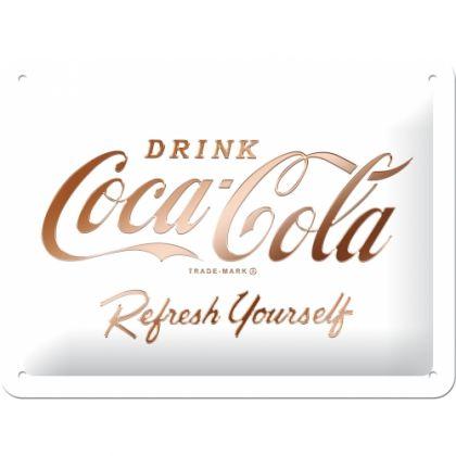 Placa 15x20 Coca-Cola - Logo White Refresh Yourself