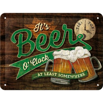 Placa metalica 15X20 Beer O'Clock Glasses