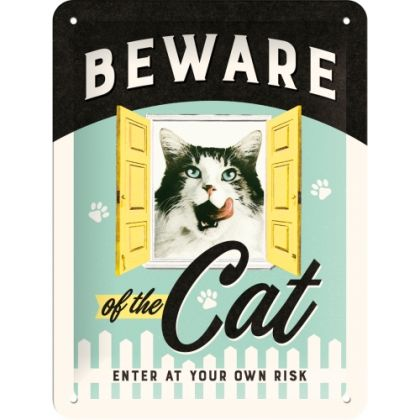 Placa metalica 15X20 Beware of the Cat