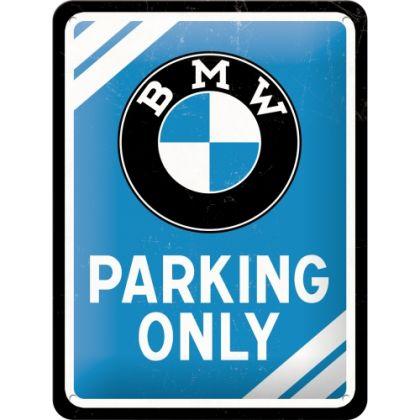Placa metalica 15X20 BMW - Parking Only Blue