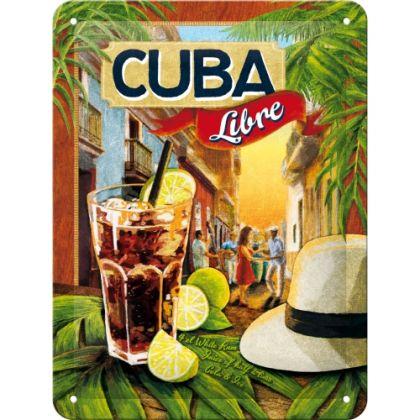 Placa metalica 15X20 Cocktail-Time Cuba Libre