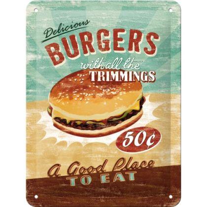 Placa metalica 15X20 Delicious Burgers