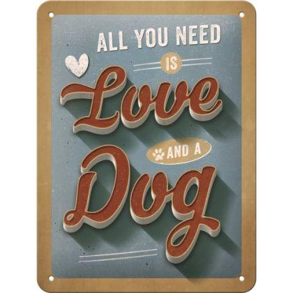 Placa metalica 15x20 Love Dog