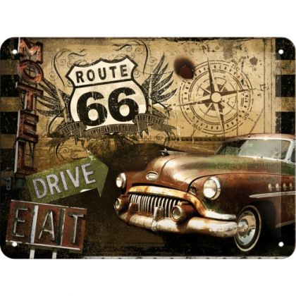 Placa metalica 15X20 Route 66 - Motel