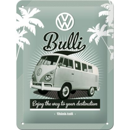 Placa metalica 15X20 VW Retro Bulli