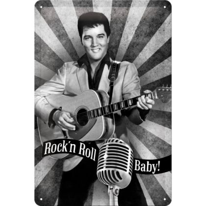 Placa metalica 20X30 Elvis Presley - Rock 'n Roll, Baby