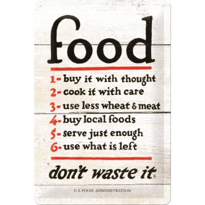 Placa metalica 20X30 Food Don't Waste It