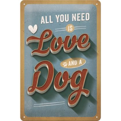 Placa metalica 20x30 Love Dog