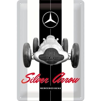 Placa metalica 20x30 Mercedes-Benz Silver Arrow