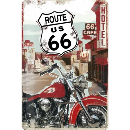 Placa metalica 20X30 Route 66 - Lone Rider