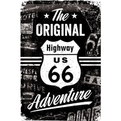 Placa metalica 20X30 Route  66 The Original Adventure