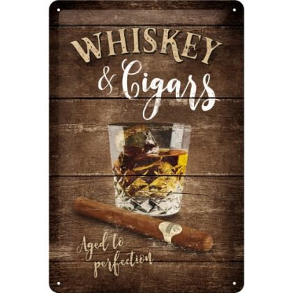 Placa metalica 20X30 Whiskey & Cigars
