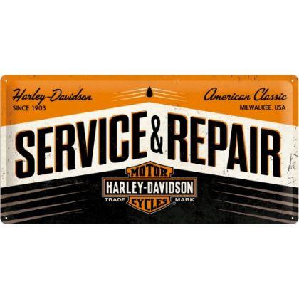 Placa metalica 25X50 Harley-Davidson Service & Repair
