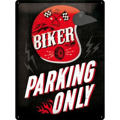 Placa metalica 30X40 Biker Parking Only-Helmet