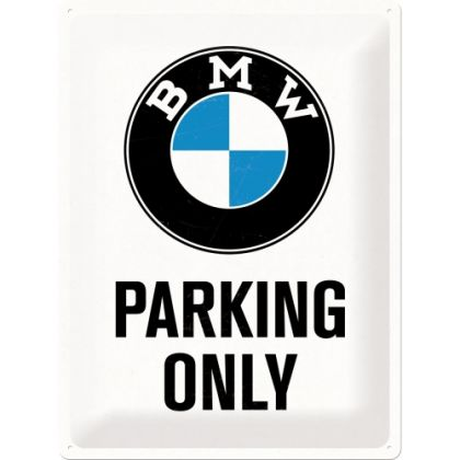 Placa metalica 30X40 BMW - Parking Only White