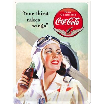 Placa metalica 30X40 Coca-Cola - Takes Wings Lady