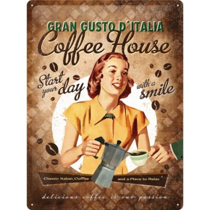 Placa metalica 30X40 Coffee House Lady