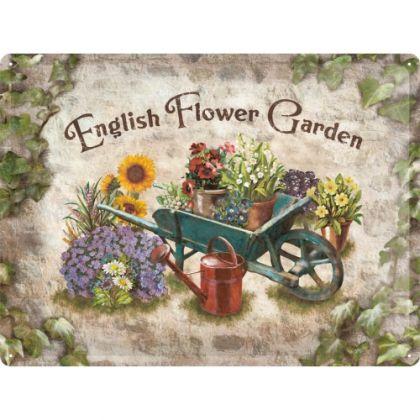 Placa metalica 30X40 English Flower Garden