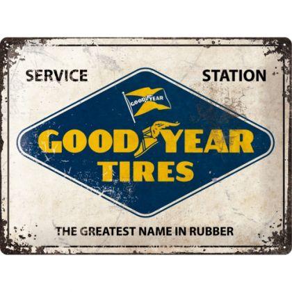 Placa metalica 30x40 Goodyear - Logo White