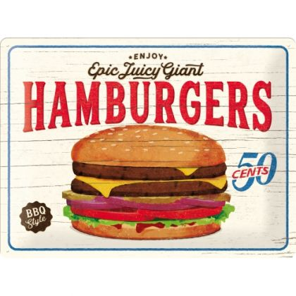 Placa metalica 30X40 Hamburgers