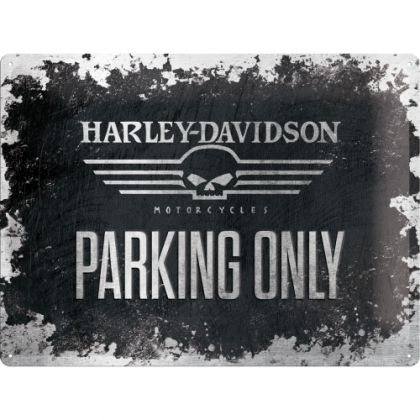Placa metalica 30x40 Harley-Davidson Logo Parking Only