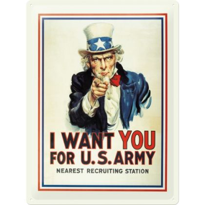 Placa metalica 30X40 I want you for US Army