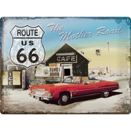 Placa metalica 30X40 Route 66 - Cafe