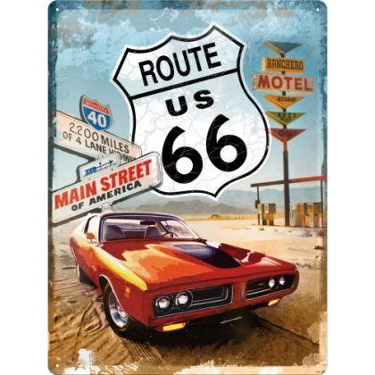 Placa metalica 30X40 Route 66 - Gas Up