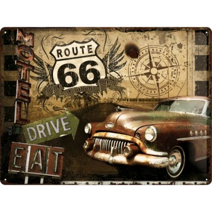 Placa metalica 30X40 Route 66 -Road Trip